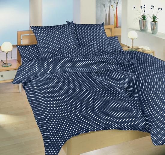 Obrázok z Povlečení bavlna Puntík bílý na tmavě modrém 140x220, 70x90 cm