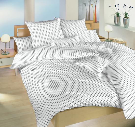 Obrázok z Povlečení bavlna Hvězdička šedá na bílém 140x220, 70x90 cm