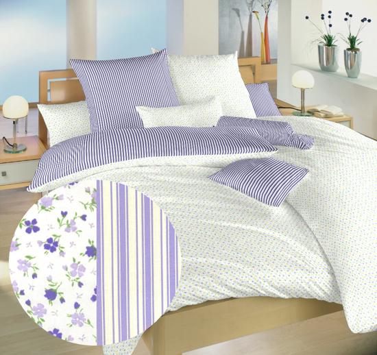 Obrázok z Povlečení bavlna Květinky fialové/Proužky fialové 40x50 cm povlak
