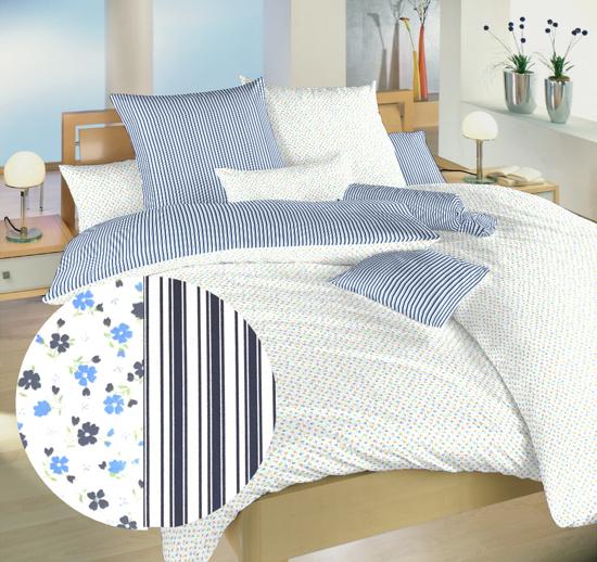 Obrázok z Povlečení bavlna Květinky modré/Proužky modré 140x220, 70x90 cm
