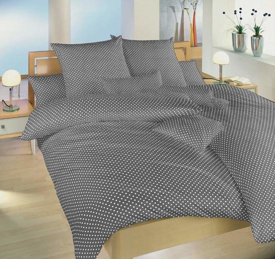 Obrázok z Povlečení bavlna Puntík bílý na šedém 140x220, 70x90 cm