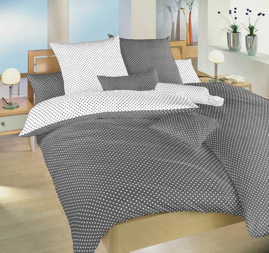 Obrázok z Povlečení bavlna Puntík bílý/šedý DUO 140x220, 70x90 cm