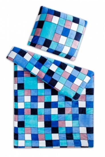 Obrázok z Povlečení mikroflanel Kostky modré 140x200, 70x90 cm