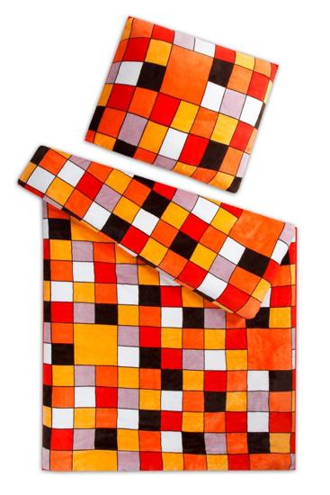 Obrázok z Povlečení mikroflanel Kostky oranžové 140x200, 70x90 cm