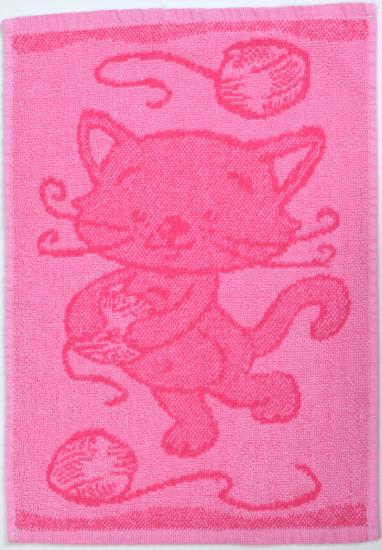 Obrázok z Dětský ručník Cat pink 30x50 cm