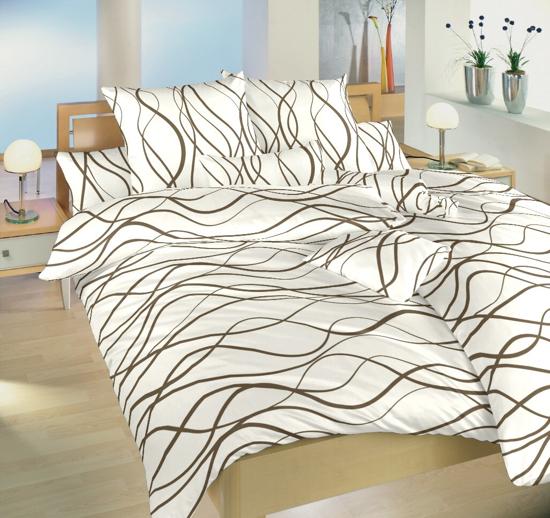 Obrázok z Povlečení bavlna Vlny hnědé 140x200, 70x90 cm II.jakost