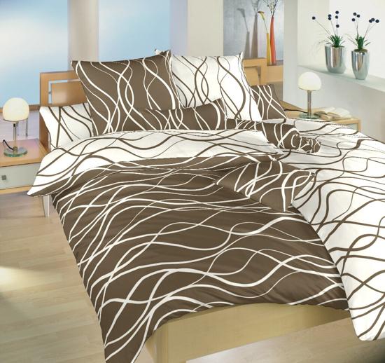 Obrázok z Povlečení bavlna Vlny banánové/hnědé DUO 140x200, 70x90 cm II.jakost