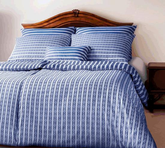 Obrázok z Povlečení damašek Granny modrobílé pruhy s jemně vytkaným vzorem 240x220, 2x70x90 cm