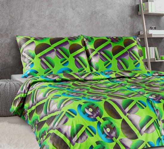 Obrázok z Povlečení damašek Apollo Zelená geometrie 135x200, 70x90 cm