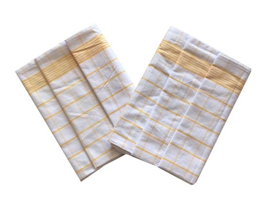 Obrázok z Utěrka Negativ Egyptská bavlna bílá/žlutá - 3 ks