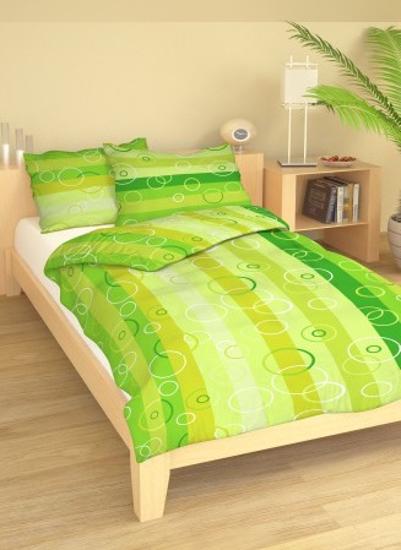 Obrázok z Povlečení bavlna Pruhy zelené 140x200, 70x90 cm