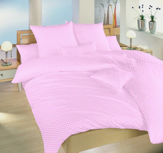 Obrázok z Povlečení bavlna Puntík bílý na růžovém 140x200, 70x90 cm