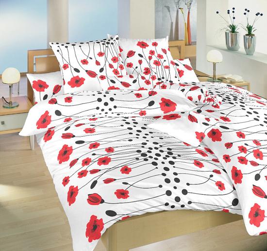 Obrázok z Povlečení bavlna Vlčí máky červené 140x220, 70x90 cm