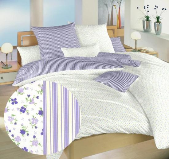 Obrázok z Povlečení bavlna Květinky fialové/Proužky fialové