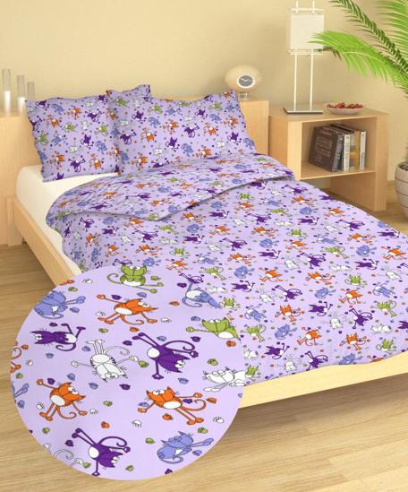 Obrázok z Povlečení krep do postýlky Kočky fialové 90x130, 60x45 cm