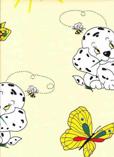 Obrázok z Povlečení krep do postýlky Pejsek s motýlem žluté 90x130, 45x60 cm