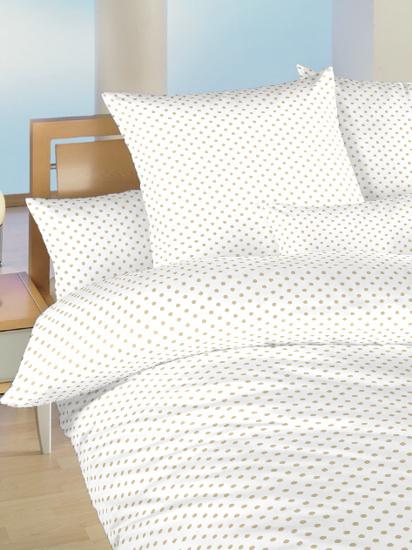 Obrázok z Povlečení bavlna do postýlky Puntík béžový na bílém 90x130, 45x60 cm