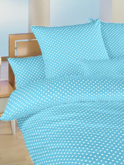 Obrázok z Povlečení bavlna do postýlky Puntík bílý na světle modrém 90x130, 45x60 cm