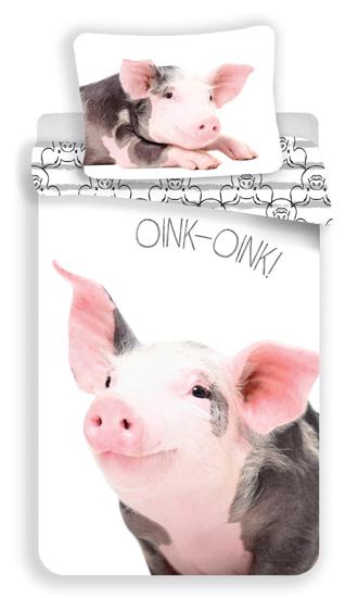 Obrázok z Povlečení fototisk Prasátko white 140x200, 70x90 cm