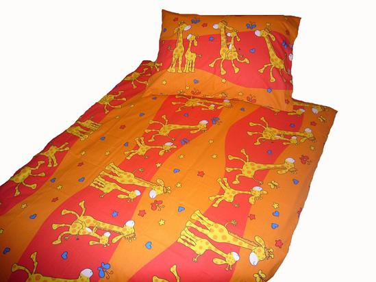 Obrázok z Povlečení bavlna Žirafa červená 90x130, 45x60 cm II.jakost