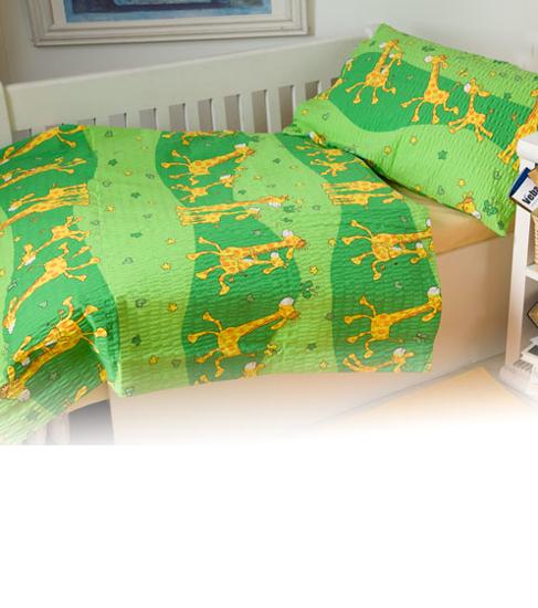 Obrázok z Povlečení bavlna Žirafa zelená 90x130, 45x60 cm II.jakost