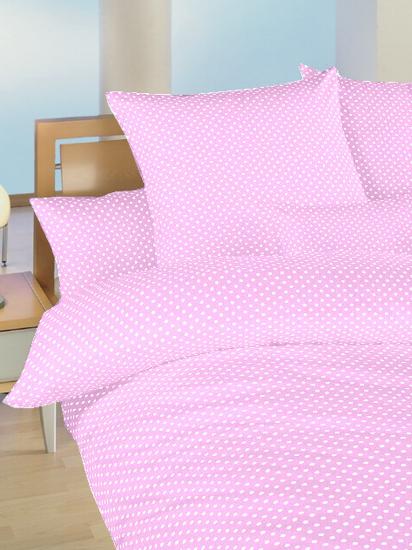 Obrázok z Povlečení bavlna Puntík bílý na růžovém 90x130, 45x60 cm II.jakost