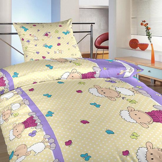 Obrázok z Povlečení bavlna Ovečky velké fialové 140x200, 70x90 cm II.jakost