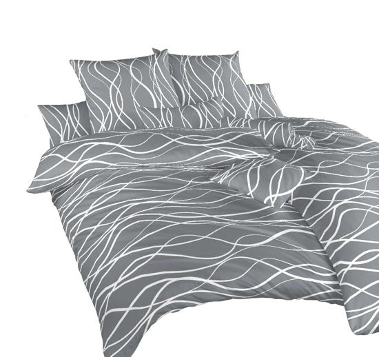 Obrázok z Povlečení krep Vlny bílé na tmavě šedém 240x220 cm povlak