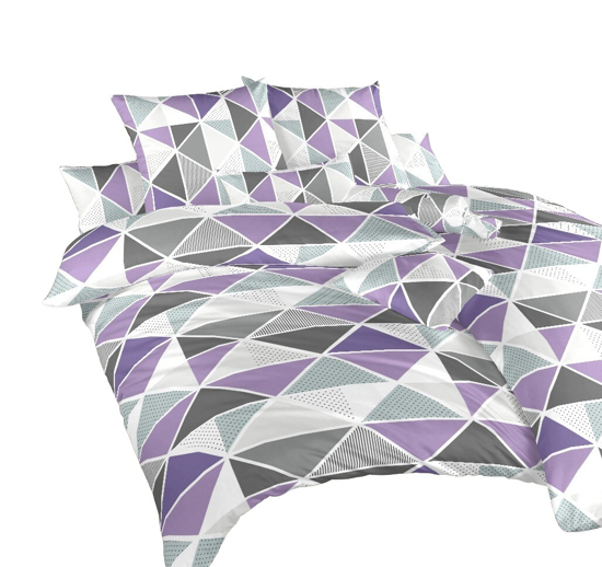 Obrázok z Povlečení krep Pyramidy fialové 220x220 cm povlak