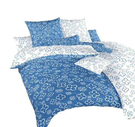 Obrázok z Povlečení bavlna Čtyřlístek bílý/denim DUO 140x200, 70x90 cm