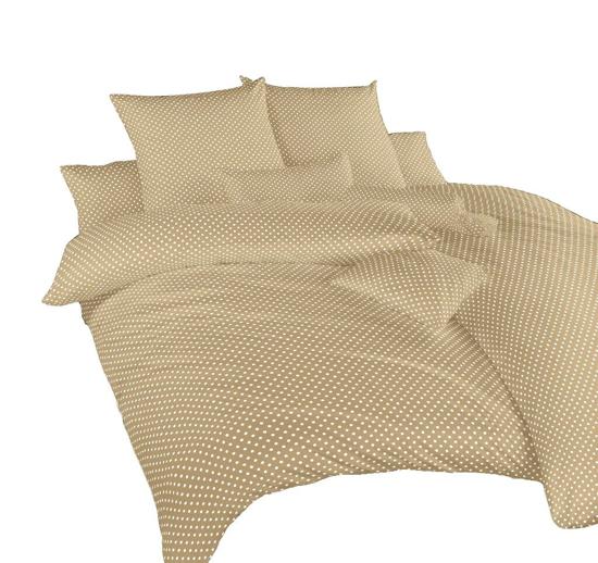 Obrázok z Povlečení bavlna Puntík bílý na béžovém 140x200, 70x90 cm