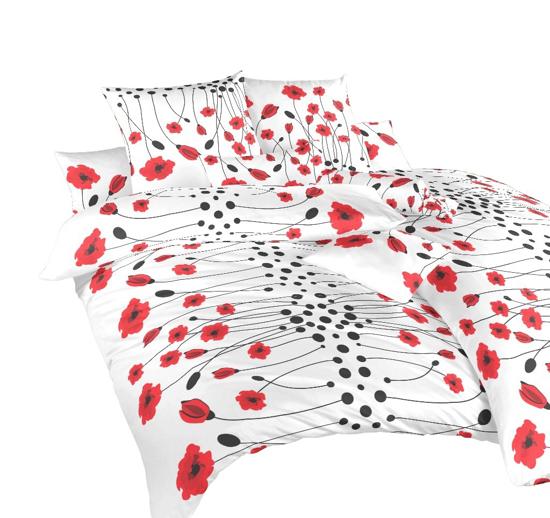 Obrázok z Povlečení bavlna Vlčí máky červené 220x220 cm povlak