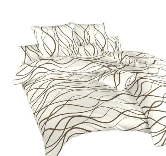 Obrázok z Povlečení satén Vlny hnědé 240x200, 2x70x90 cm