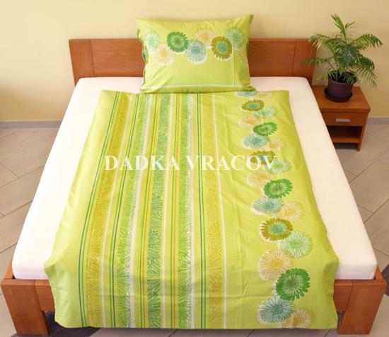 Obrázok z Povlečení bavlna Sedmikrásky zelené 140x200, 70x90 cm II.jakost