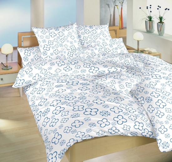 Obrázok z Povlečení bavlna Čtyřlístek denim na bílém 140x200, 70x90 cm II.jakost