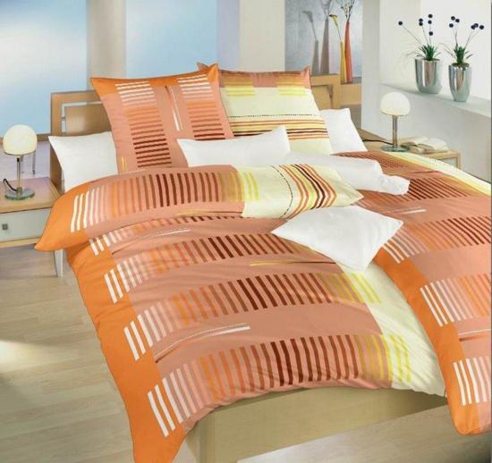 Obrázok z Povlečení bavlna Čárový kód oranžový 140x200, 70x90 cm II.jakost