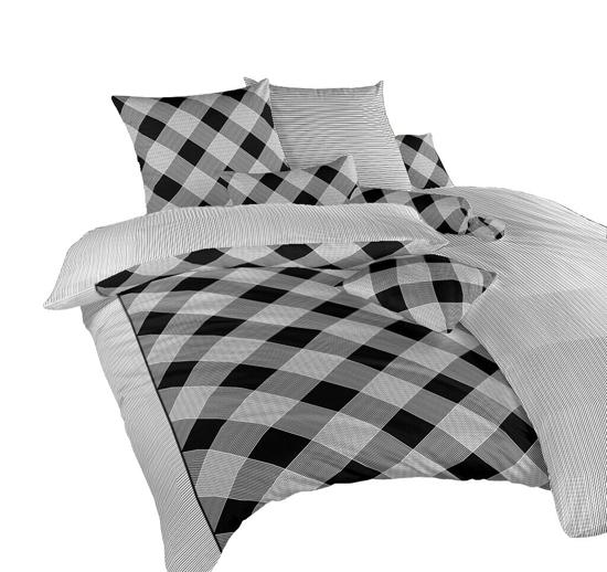 Obrázok z Povlečení bavlna Káro/Linea černá 140x200, 70x90 cm II.jakost