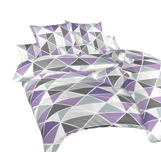 Obrázok z Krepové povlečení Pyramidy fialové 200x200, 2x70x90 cm II.jakost