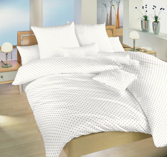 Obrázok z Povlečení bavlna Puntík béžový na bílém 140x200, 70x90 II.jakost