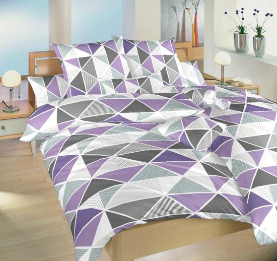 Obrázok z Krepové povlečení Pyramidy fialové 140x200, 70x90 cm II.jakost
