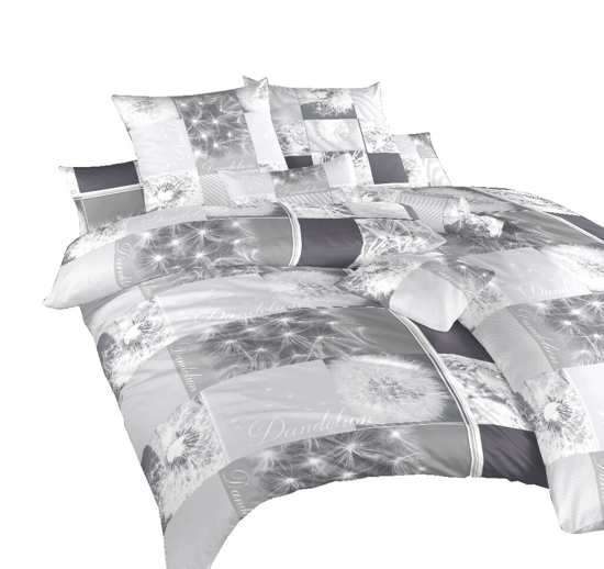 Obrázok z Povlečení krep Pampelišky 3D šedé 240x200, 2x70x90 cm