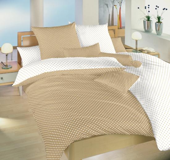 Obrázok z Povlečení bavlna Puntík bílý/béžový DUO 140x200, 70x90 cm