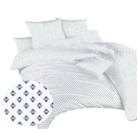 Obrázok z Povlečení bavlna Carré modré 140x200, 70x90 cm