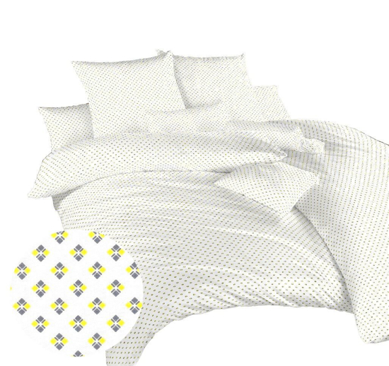 Obrázok z Povlečení bavlna Carré žluté 140x200, 70x90 cm