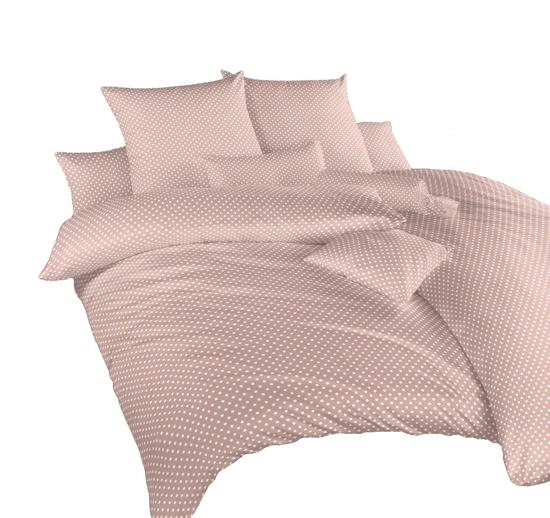 Obrázok z Povlečení krep Puntík bílý na béžovém 240x200, 2x70x90 cm