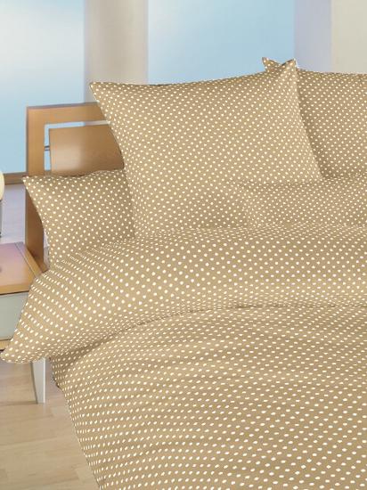 Obrázok z Povlečení bavlna do postýlky Puntík bílý na béžovém 90x130, 45x60 cm