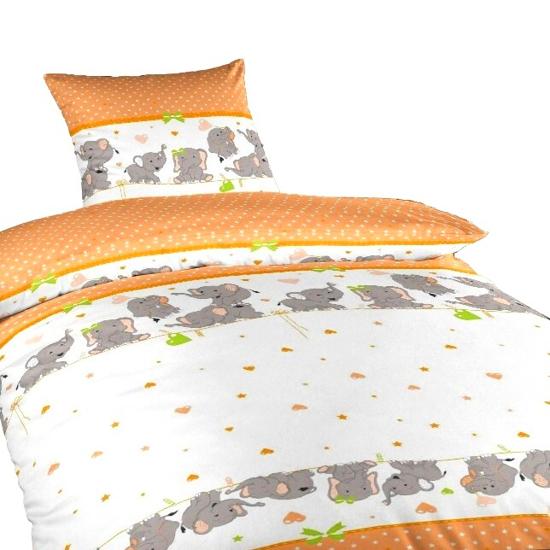 Obrázok z Povlečení bavlna do postýlky Sloni oranžoví 90x130, 45x60 cm