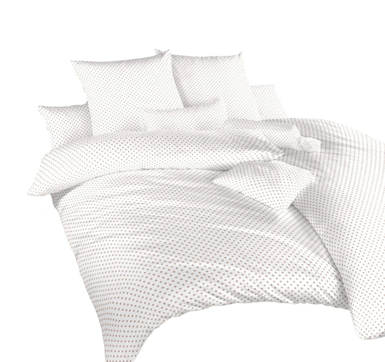 Obrázok z Povlečení krep Puntík béžový na bílém 70x90 cm povlak