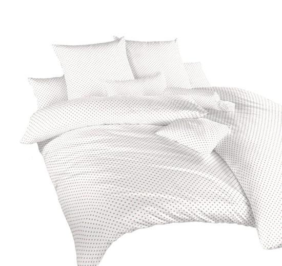 Obrázok z Povlečení krep Puntík béžový na bílém 240x200, 2x70x90 cm